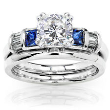 Cushion Moissanite Sapphire and Diamond Bridal Rings Set 1 1/2ct (ctw) in 14k Wh