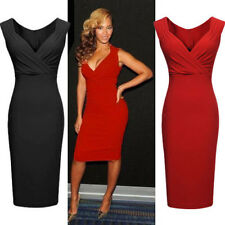 Women's Ladies Sexy V-Neck Bodycon Cocktail Party Black Red Slim Evening Dress