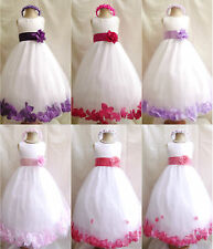 WHITE PURPLE FUCHSIA PINK LILAC CORAL ROSE PETALS WEDDING FLOWER GIRL DRESS