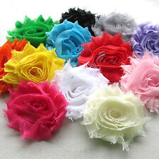 12PCS Large 7CM Fabric Ribbon Bows Flowers Appliques Wedding Decoration A0417