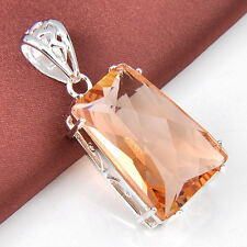 HOT Holiday Women Jewelry Gift Honey Morganite Gemstone Silver Pendant 1 3/4""