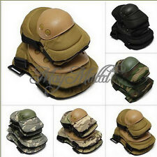 Color Airsoft Tactical Knee w/ Elbow Protective Pads Set Protector Gear Sports G