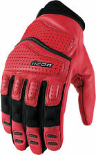 Mens Icon red Super Duty 2 padded motorcycle gloves