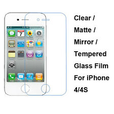 Tempered Glass/Clear/Matte/Mirror Film Screen Protector For Apple iPhone 4 4S