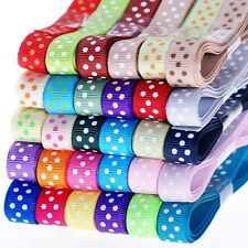 "Free P&P 5YDS 3/8"" grosgrain ribbon POLKA DOT DIY sewing bow 4 hairbow clips xxq"