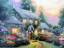 "Thomas Kinkade Julianne's Cottage RETIRED 9"" x 12"" Classic Edition Framed Canvas"