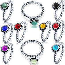 Birthstone sterling silver Ring with 12 colors crystal Gift for Families&Friends