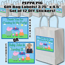 Peppa Pig Nick Jr Thank You Party Favor Gift Bag Labels DIY Stickers (12 pc)