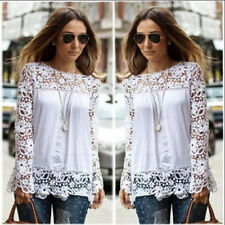 New Womens Ladies Long Sleeve Embroidery Lace Tops Chiffon Shirt Blouse S-5XL