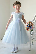 Gorgeous Light/sky blue tulle lace evening party pageant flower girl dress