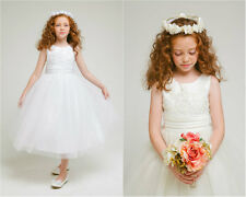 Beautiful White Ivory communion pageant wedding party gown flower girl dress