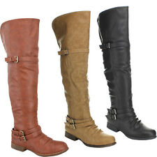 Top Moda STEP-5 Women's Over The Knee Buckle Riding Boots