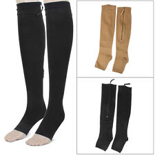 Zippered Knee High Open Toe Compression Socks Stockings Leg Fatigue Relief