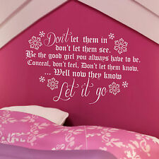 Frozen Let It Go Quote Elsa Anna Olaf Disney Wall Sticker Girls Bedroom Art