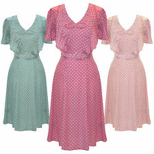 Hell Bunny Jennifer Pastel Polka Dot 1940s Wartime WW2 Summer Tea Party Dress