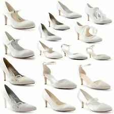 Womens Ladies Kitten Bridesmaid Bridal Heel Satin White Ivory Shoes Size