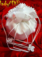 LadyMYP© Bridal Pouch with Bloom From Satin, Organza & Beads white/ivory NEW