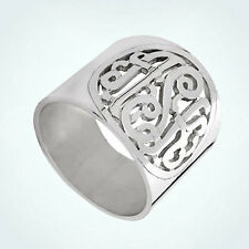 Mens Hand-Cut Monogram Script Initial Personalized Ring 925 Sterling Silver Dads