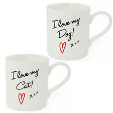 I LOVE MY DOG CAT COFFEE TEA MUG CUP PET GIFT SET KITCHEN CHINA PUPPY KITTEN NEW