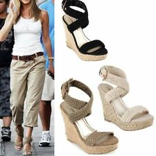 2015 new Vintage Celebrity Womens Braided Ankle Cross Strap Wedge Roman Sandal