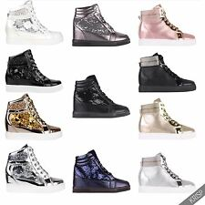 Womens Shiny Patent Leather Metallic Flat Ankle Trainers Sneakers Shoes Fashion