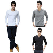Fashion Men Casual T-Shirt Polyester Slim Cotton Crew Neck Long Sleeve Tops