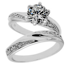 925 Sterling Silver 1.32 Carat CZ Engagement Ring Wedding Band Set