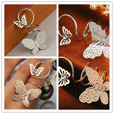 Gold Plated Butterfly Rhinestone Ring Women Girls Long Finger Ring Party Wedding