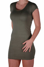 Womens Short Sleeve Scoop Nech Bodycon Stretch Short Casual Plain Mini Dress