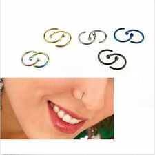2pcs Surgical Stainless Steel Nose Open Hoop Ring Earring Body Piercing Jewelry