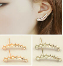 1 Pair Women Ear Hook Plated Crystal Rhinestone Stud Ear Clip Earrings Fashion