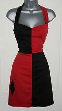 Sexy Harley Quinn Halterneck Dress Jester Red Black Fancy Pin up Costume 10-16