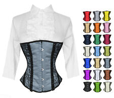 Full Steel Boned Satin Heavy Lacing Underbust Burlesque Shaper Corset #H8044