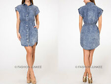 BLUE SHORT SLEEVE (16) Denim SHIRT DRESS BUTTON UP TOP Acid Wash Chambray S M L