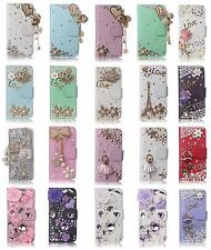 3D Cute Bling Crystal Diamond Rhinestone Design Flip Wallet Leather Cover Cases