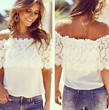 New Ladies Lace Chiffon Off Shoulder Top Shirt Casual Blouse T-Shirt Size 8-16