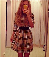 Vintage Womens Plaid&Check Long Sleeve Dress Casual Waisted Loose Party Clubwear