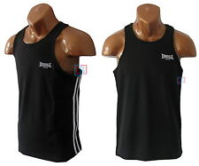 Lonsdale Mens Singlet Black Gym Sports Tank Top Weights Beach Vest Sizes S - 4XL