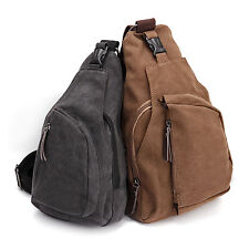 Mens Canvas Travel Hiking Cross Body Messenger Shoulder Backpack Sling Chest Bag