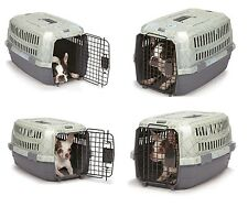 TRAVEL DOG CARRY CRATE - Small Plastic Secure Pet Carrier for Airline Car Home