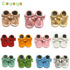 New Soft Sole Bow Tassel Leather Shoes Baby Boy Girl Infant Toddller 0-36 MTHS