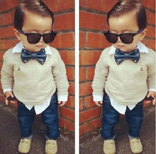 2PCS Baby Boys Dress Gray Shirt +Denim Pants Set Kids gentleman Clothes Outfits