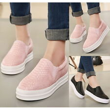 Womens Slip On Snakeskin Flats Casual Loafers Round Toe Elastic Moccasins Shoes
