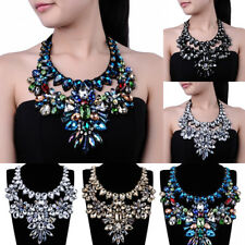 Fashion Jewelry Pendant Chain Crystal Glass Chunky Choker Statement Bib Necklace