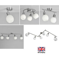 Modern Brushed Chrome & Glass Single 2 3 4 6 Way Ceiling Spot Lights Spotlights