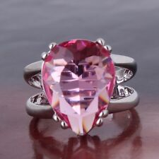 Desige glowing lady 18K gold filled pink sapphire crystal lady rings Sz6to10