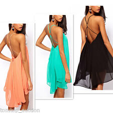 Fashion Womens Chiffon Backless Strapless Back Party Evening Cocktail Mini Dress