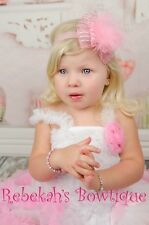 Pink organza sheer Easter hair bow headband baby infant girls marabou feather