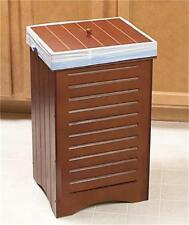CLASSY WOODEN FURNITURE-STYLE KITCHEN GARBAGE CAN TRASH BIN W/LID IN 3 FINISHES