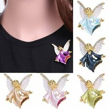 Beautiful Girl Crystal Gold Enamel Angel Wing 6Colors Brooch Pins Lucky Jewelry
